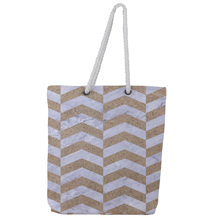 CHEVRON2 WHITE MARBLE & SAND Full Print Rope Handle Tote (Large)