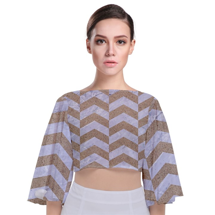 CHEVRON2 WHITE MARBLE & SAND Tie Back Butterfly Sleeve Chiffon Top