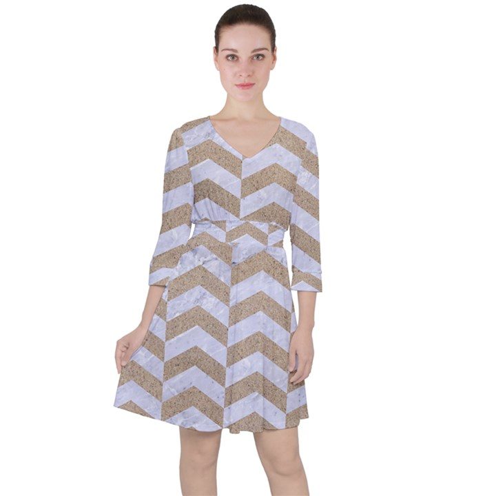CHEVRON2 WHITE MARBLE & SAND Ruffle Dress