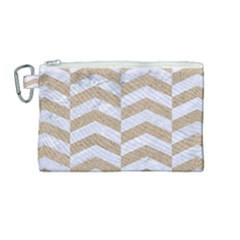 Chevron2 White Marble & Sand Canvas Cosmetic Bag (medium)