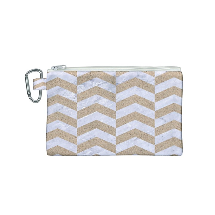 CHEVRON2 WHITE MARBLE & SAND Canvas Cosmetic Bag (Small)