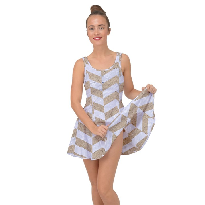 CHEVRON2 WHITE MARBLE & SAND Inside Out Dress