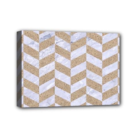 Chevron1 White Marble & Sand Mini Canvas 7  X 5