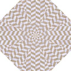 Chevron1 White Marble & Sand Folding Umbrellas