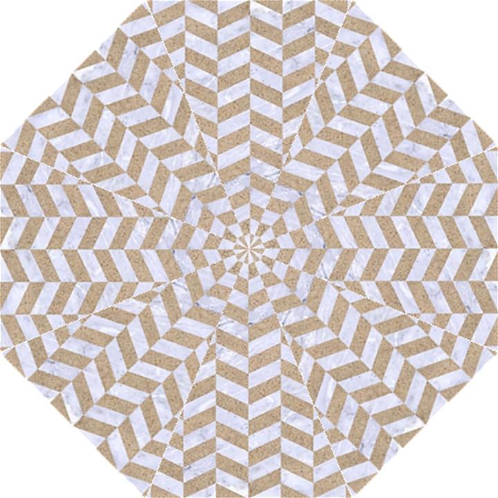 CHEVRON1 WHITE MARBLE & SAND Golf Umbrellas