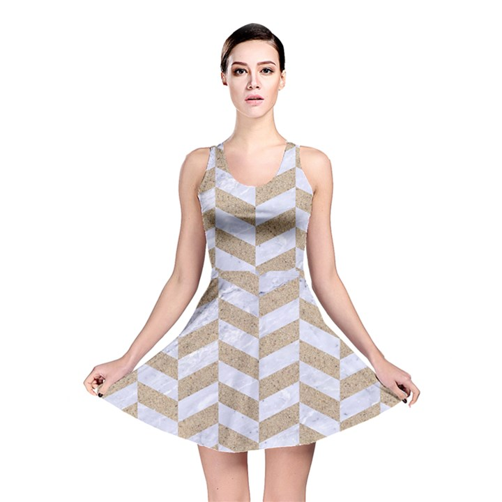 CHEVRON1 WHITE MARBLE & SAND Reversible Skater Dress