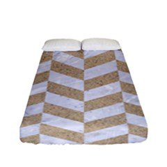 Chevron1 White Marble & Sand Fitted Sheet (full/ Double Size)