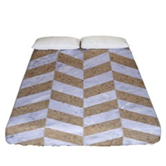 Chevron1 White Marble & Sand Fitted Sheet (queen Size)