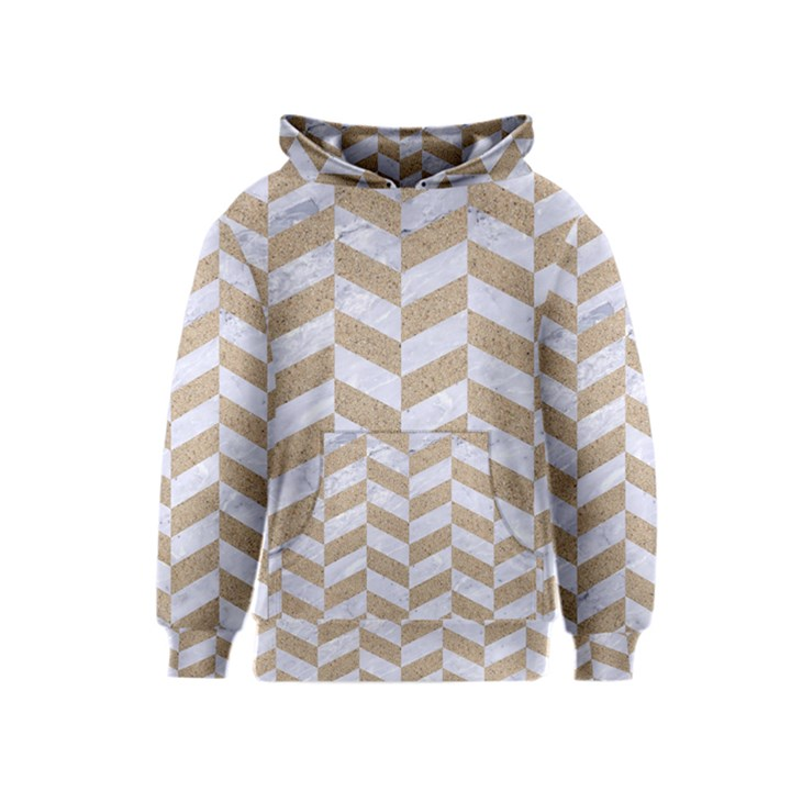 CHEVRON1 WHITE MARBLE & SAND Kids  Pullover Hoodie