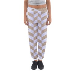 Chevron1 White Marble & Sand Women s Jogger Sweatpants