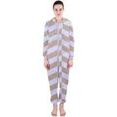 Chevron1 White Marble & Sand Hooded Jumpsuit (ladies)