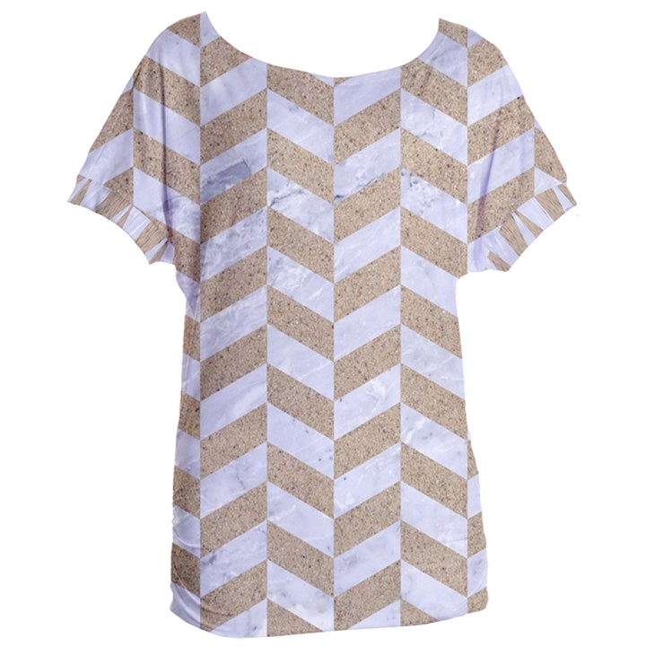 CHEVRON1 WHITE MARBLE & SAND Women s Oversized Tee