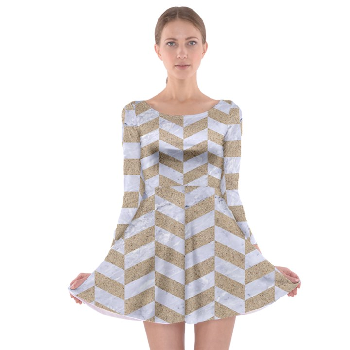 CHEVRON1 WHITE MARBLE & SAND Long Sleeve Skater Dress