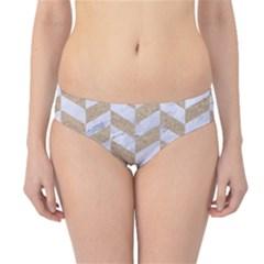 Chevron1 White Marble & Sand Hipster Bikini Bottoms