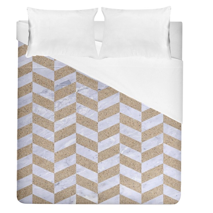CHEVRON1 WHITE MARBLE & SAND Duvet Cover (Queen Size)