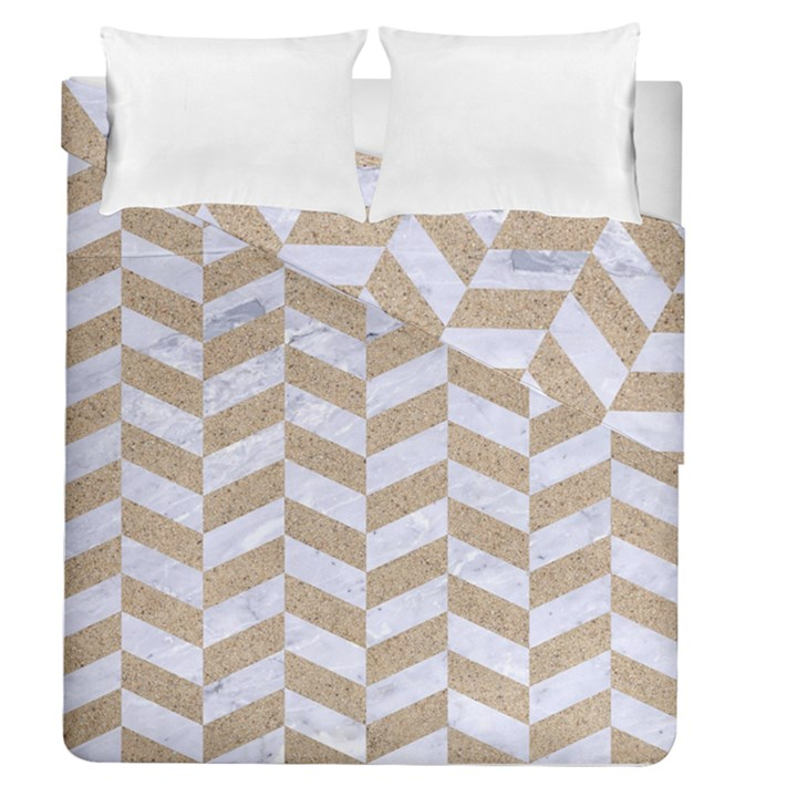 CHEVRON1 WHITE MARBLE & SAND Duvet Cover Double Side (Queen Size)