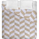 CHEVRON1 WHITE MARBLE & SAND Duvet Cover Double Side (King Size) View1