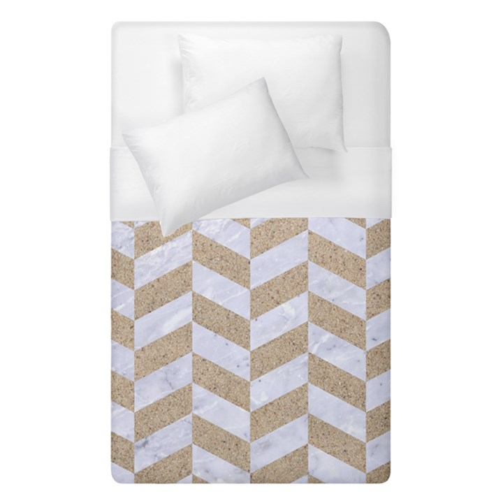 CHEVRON1 WHITE MARBLE & SAND Duvet Cover (Single Size)