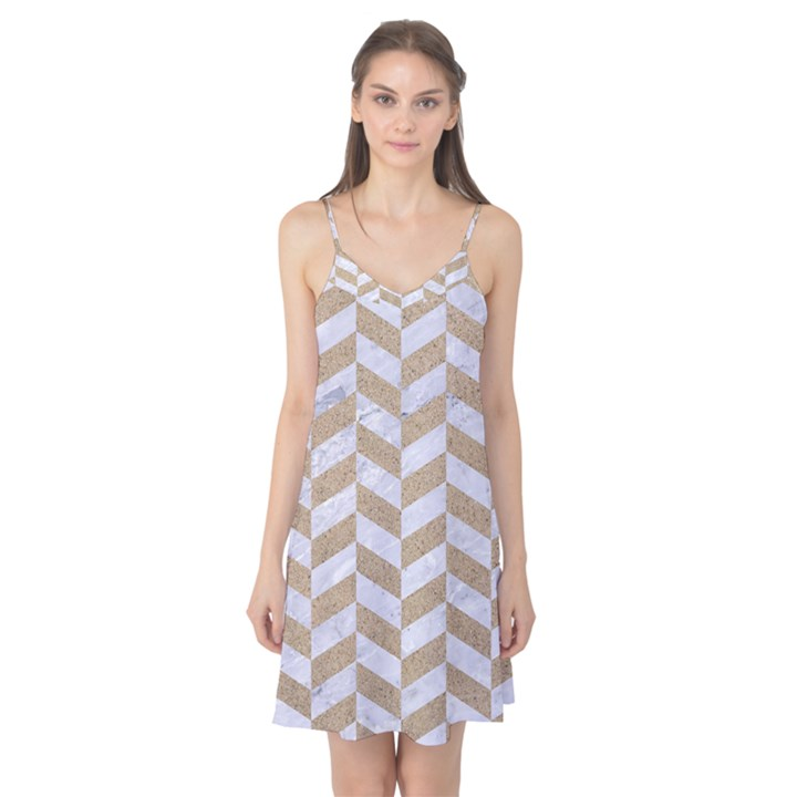 CHEVRON1 WHITE MARBLE & SAND Camis Nightgown