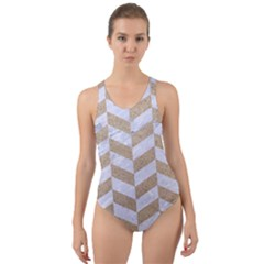 Chevron1 White Marble & Sand Cut Out Back One Piece Swimsuit
