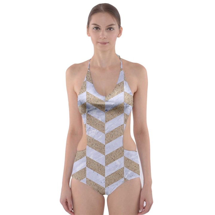 CHEVRON1 WHITE MARBLE & SAND Cut-Out One Piece Swimsuit