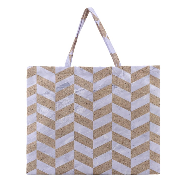 CHEVRON1 WHITE MARBLE & SAND Zipper Large Tote Bag