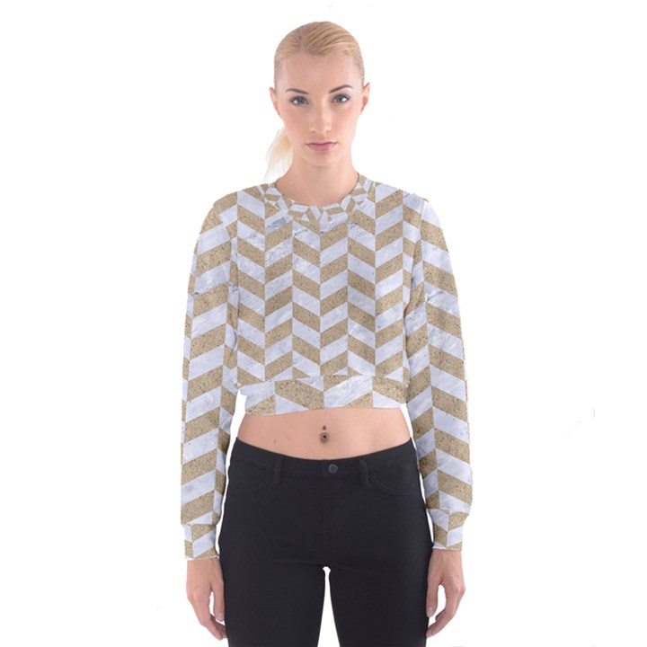 CHEVRON1 WHITE MARBLE & SAND Cropped Sweatshirt