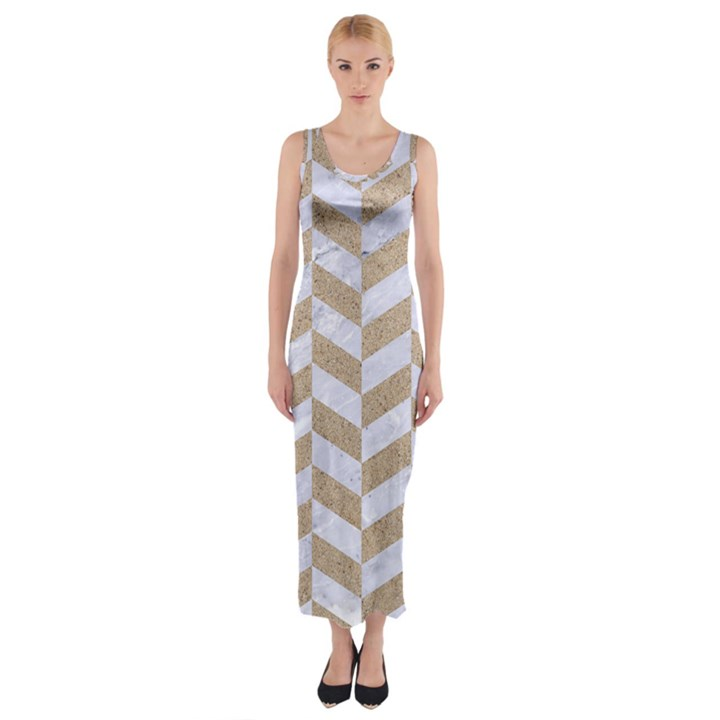 CHEVRON1 WHITE MARBLE & SAND Fitted Maxi Dress