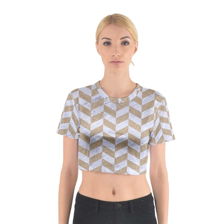 CHEVRON1 WHITE MARBLE & SAND Cotton Crop Top