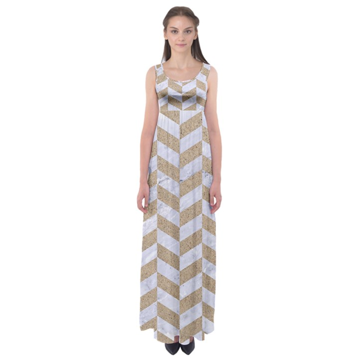 CHEVRON1 WHITE MARBLE & SAND Empire Waist Maxi Dress