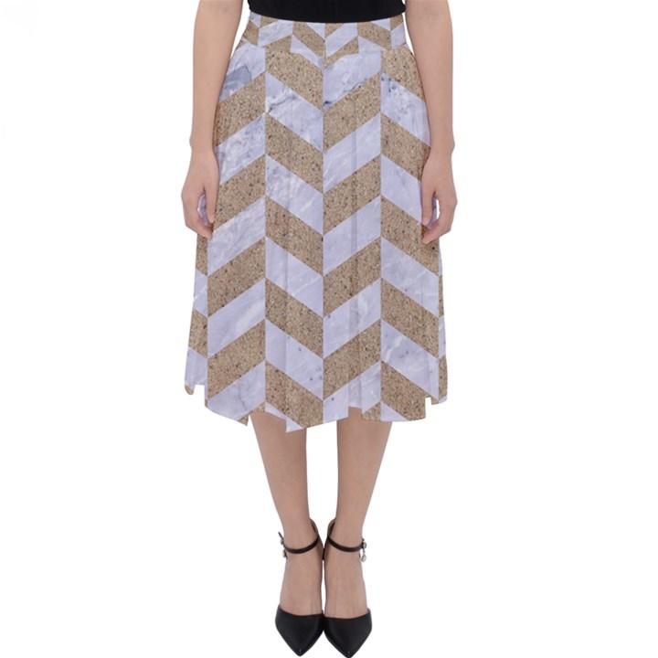 CHEVRON1 WHITE MARBLE & SAND Folding Skater Skirt
