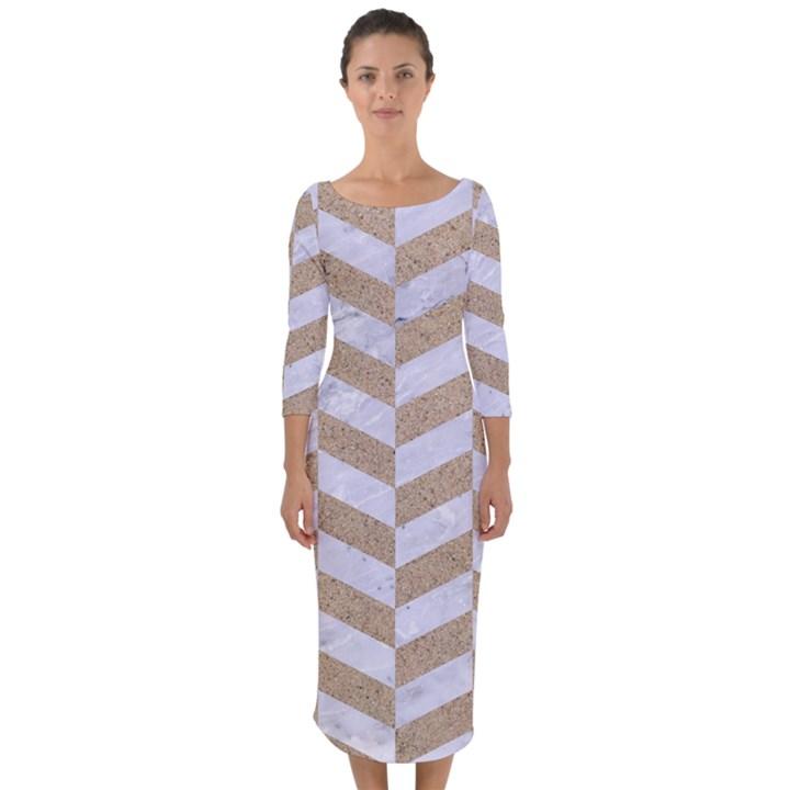CHEVRON1 WHITE MARBLE & SAND Quarter Sleeve Midi Bodycon Dress