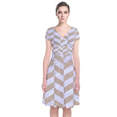 Chevron1 White Marble & Sand Short Sleeve Front Wrap Dress