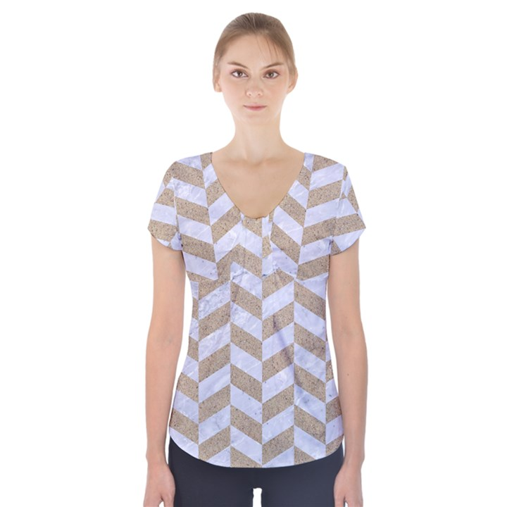 CHEVRON1 WHITE MARBLE & SAND Short Sleeve Front Detail Top
