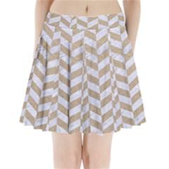 Chevron1 White Marble & Sand Pleated Mini Skirt