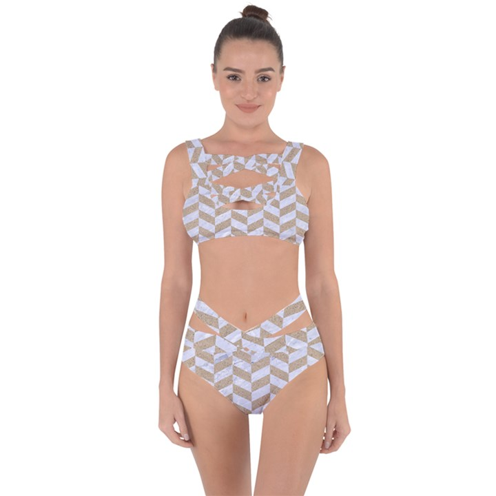 CHEVRON1 WHITE MARBLE & SAND Bandaged Up Bikini Set