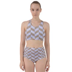 Chevron1 White Marble & Sand Racer Back Bikini Set