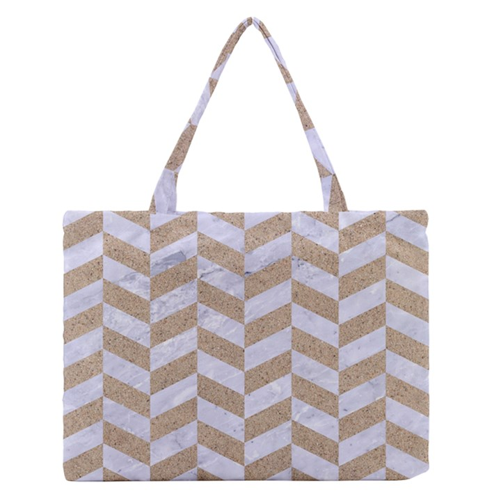 CHEVRON1 WHITE MARBLE & SAND Zipper Medium Tote Bag