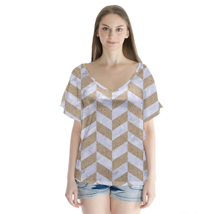 CHEVRON1 WHITE MARBLE & SAND V-Neck Flutter Sleeve Top