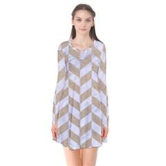 Chevron1 White Marble & Sand Flare Dress