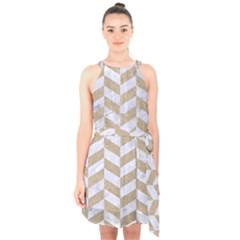 Chevron1 White Marble & Sand Halter Collar Waist Tie Chiffon Dress
