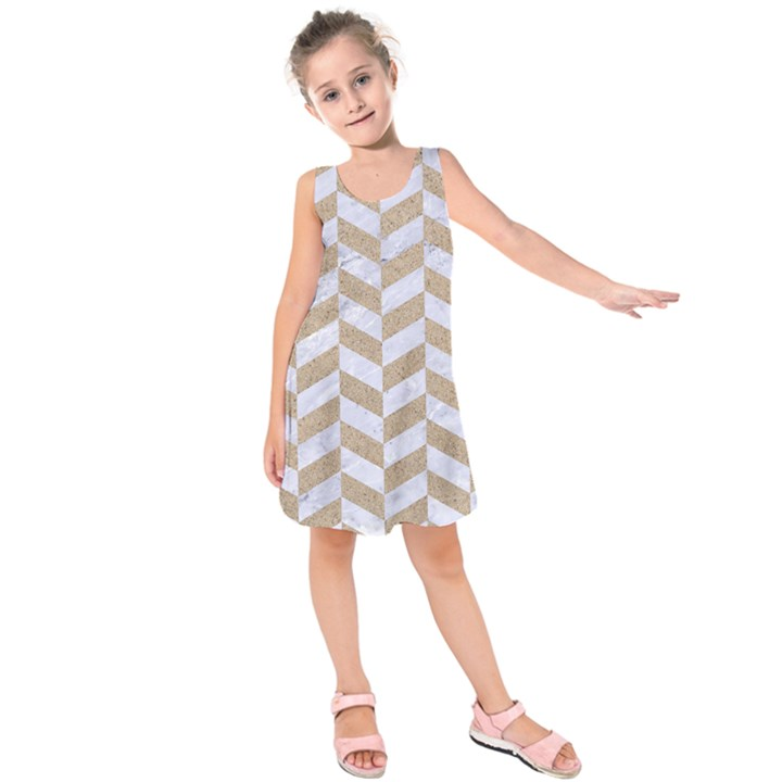 CHEVRON1 WHITE MARBLE & SAND Kids  Sleeveless Dress