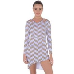 Chevron1 White Marble & Sand Asymmetric Cut Out Shift Dress