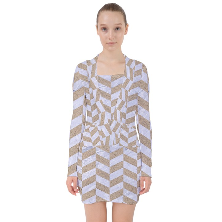 CHEVRON1 WHITE MARBLE & SAND V-neck Bodycon Long Sleeve Dress