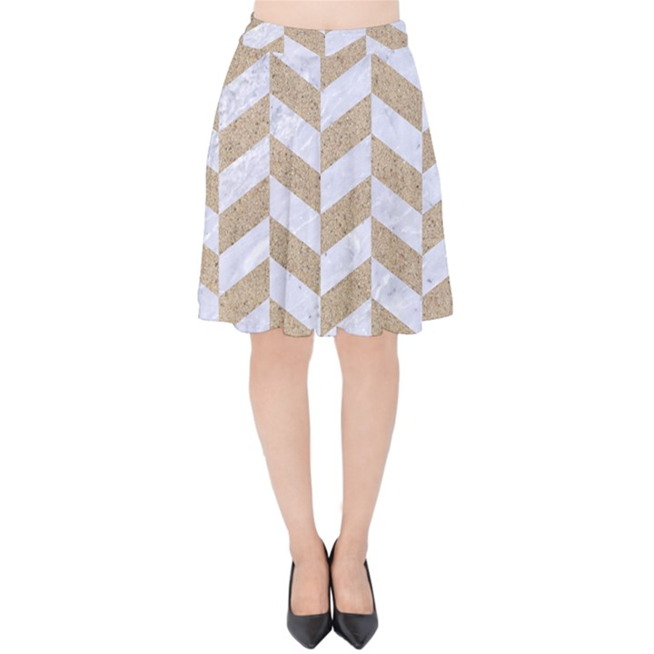 CHEVRON1 WHITE MARBLE & SAND Velvet High Waist Skirt