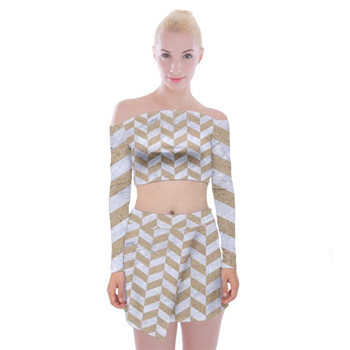 CHEVRON1 WHITE MARBLE & SAND Off Shoulder Top with Mini Skirt Set