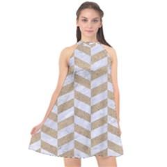 Chevron1 White Marble & Sand Halter Neckline Chiffon Dress