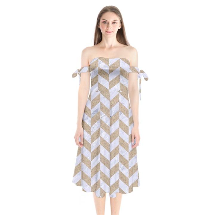 CHEVRON1 WHITE MARBLE & SAND Shoulder Tie Bardot Midi Dress