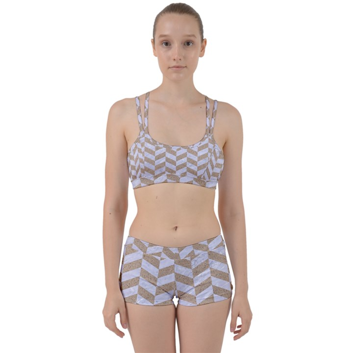 CHEVRON1 WHITE MARBLE & SAND Women s Sports Set