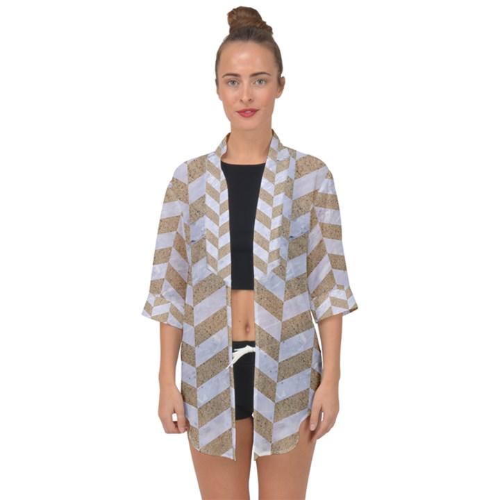 CHEVRON1 WHITE MARBLE & SAND Open Front Chiffon Kimono